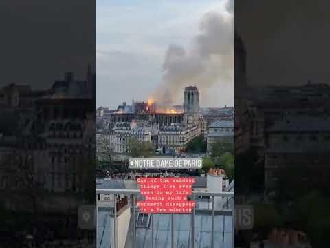 Cận cảnh Cháy nhà thờ Đức Bà Paris (Notre Dame Cathedral in Paris on fire) - Thời lượng: 83 giây.