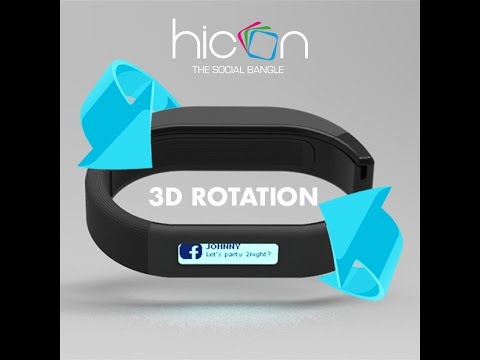 Hicon wearable device smart bracelet 3D view wearable technology iPhone and Android