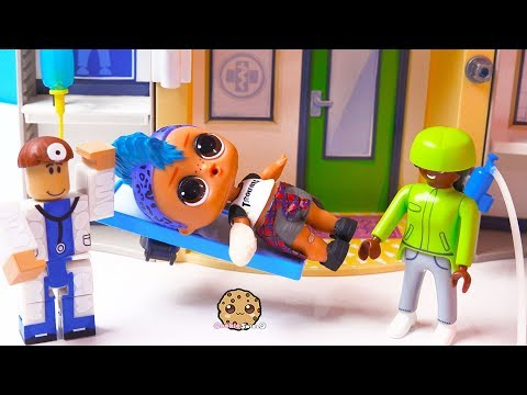 Fake Doctor At Hospital ! Roblox + Playmobil + LOL Surprise Punk Boi Play Video