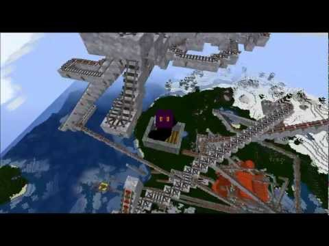 Flaming Carts - Minecraft 1.2.5 Roller Coaster (Creative mode) HD + world download!