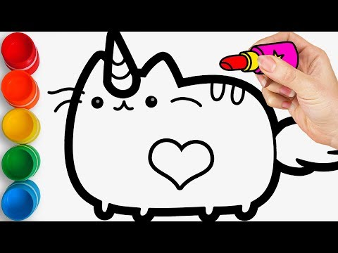 Glitter Unicorn Cat coloring pages for kids, toddlers / Drawing on Joy Kids Art
