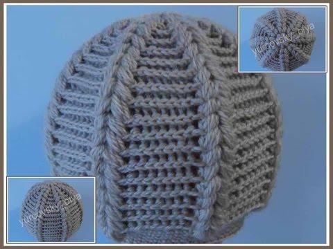 Вязание женской теплой шапки крючком