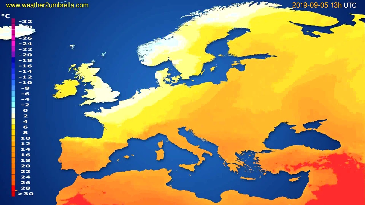 Temperature forecast Europe // modelrun: 12h UTC 2019-09-03