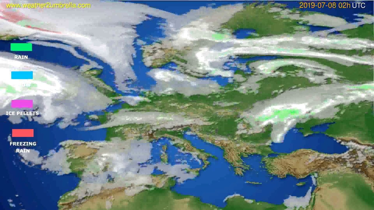 Precipitation forecast Europe // modelrun: 00h UTC 2019-07-06
