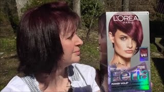 This is my review of L'oreal Feria Power Violet Intense Medium Violet V48. This video includes advice on maintaining colored hair and why I favor purples over reds these days. I demonstrate how I apply this hair color product to my own hair. I am not a professional beautician, but I've been coloring my hair for about 18 years. SOCIAL MEDIA:Website: http://www.craftyladyabby.comFacebook: https://twitter.com/CraftyLadyAbbyTwitter: https://www.facebook.com/CraftyLadyAbbyPinterest: https://www.pinterest.com/CraftyLadyAbbyInstagram: https://instagram.com/craftyladyabby