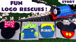 Thomas and Friends Play Doh Disney Logo Hunt with Toy Trains | Toy Story Mickey Minnie Mouse & Pooh