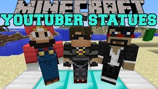 Minecraft: YOUTUBER STATUES (MOB HEADS, WEAR THEM,&STATUES!) Mod Showcase