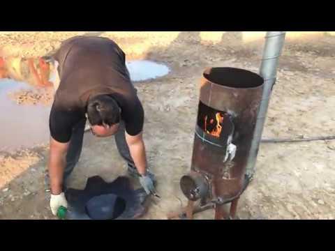 Сварил печь для казана нового типа. Пламя горит вниз
