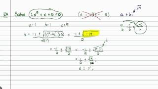 Intermediate Algebra - Quadratic Formula (Part C)