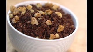 Subscribe for free here!  http://bit.ly/1SkwdvH. Tap on the bell to get email notifications on new uploads!Chocolaty granola for the ever hungry kids! Stir in some extra chocolate into warm granola to make it dessert!  Ingredients Quaker oats - 100 grams Granulated sugar - 2 tablespoonsCocoa powder - 3/4 tablespoonDark chocolate - 3 tablespoons / 40 grams approxVegetable oil - 1 tablespoonWater - 1 tablespoonHoney - 1 tablespoonPure vanilla extract - 1/4 teaspoonGrated dark chocolate (or tiny bits of it at the bottom of your chocolate tin) - 2 tablespoons (optional)Watch more of my videos!Oven Related Videos - http://bit.ly/2eQgc27How To Choose An Oven, Compare an OTG and Convection Microwave, How To Preheat A Convection Microwave, How To Use A Convection Microwave, How To Use an OTG.Basic Bakeware, Tools & Gadgets - http://bit.ly/2eUveHBEssential Baking Tools - 1 , Essential Baking Tools 2, Basic Baking Pans -1, Basic Baking Pans-2, How To Measure A Baking Tin, How To Line A Square TinCake Icings / Frosting Recipes, Dessert Sauces - http://bit.ly/2eQ95qFEasy Chocolate Icing / Chocolate Ganache, Cocoa Fudge Frosting, Dulce de Leche In The Pressure Cooker,  Easy Butterscotch Sauce, Strawberry Sauce.Know your Baking Ingredients - http://bit.ly/1NnBW3UWatch a new video every Monday! Connect with me for updates on new videos!Facebook : http://on.fb.me/1lCxpjpGoogle Plus : http://bit.ly/1Xj5Sz7Work With Me : suma.rowjee@gmail.comBlog : http://www.cakesandmore.in/Instagram - @cakesandmoresumarowjeeTwitter - sumarowjee