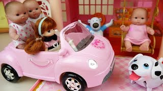 Baby doll car and Slide house toys play