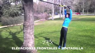 Elevaciones frontales + sentadilla
