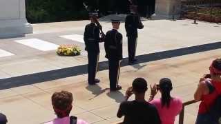 Tomb of the Unknown Soldier-Guard calls out crowd