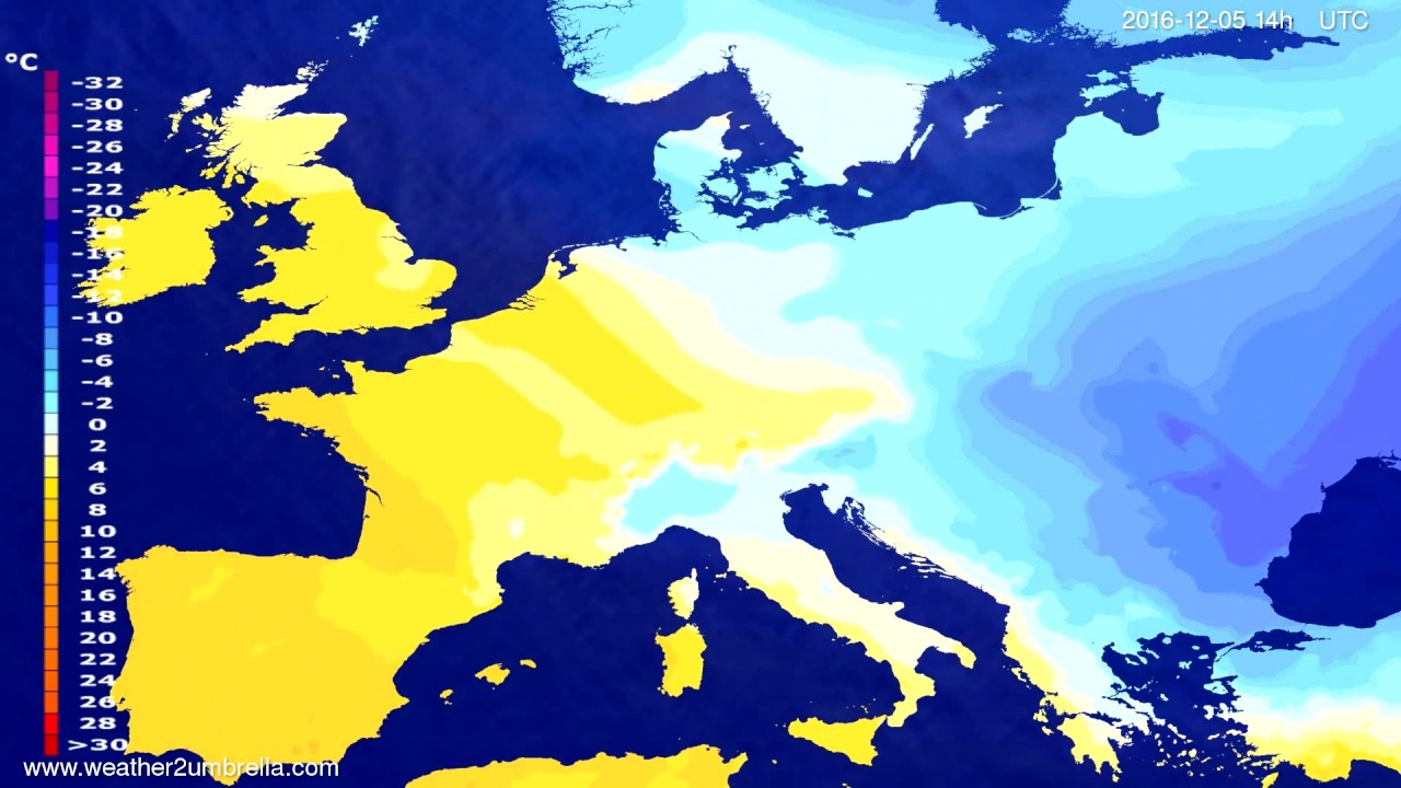 Temperature forecast Europe 2016-12-01