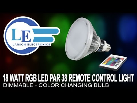 18 Watt RGB LED PAR 38 Remote Control Light - Dimmable - Color Changing Bulb