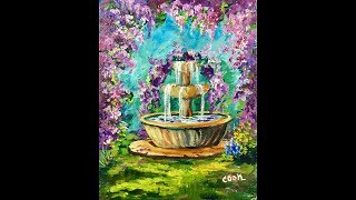 """""""Wisteria Fountain"""" is our Ginger Cook Live.YouTube #lovesummerart release Saturday around 3:30. This will be right after Angela Anderson who is starting at 2pm and the The Art Sherpa at 1pm. 8x10 this whimsical painting of cascading lavender flowers and sparkling water is easier than it looks. I will show you a simple way draw in the fountain, but it will also be on Pinterest if you want to print it out. Your YouTube Stream Team.Being the GOLD STANDARD in acrylic painting lessons, Ginger Cook will be exploring the Fine Art of Acrylic Painting by offering tips and tricks to help you with your own acrylic paintings. During her live broadcast, Ginger will be taking questions and may demonstrate the answer when possible. In this week's exciting episode...Lesson to be announced! Join Ginger Cook, Master Acrylic Artists, for Live Lessons right here on YouTube every Monday, and Tuesday evening at 7:30pm central. You will meet other artists and be able to ask questions in this live interactive session. We talk about art and other fun subjects as Ginger shows you step by step how to paint another masterpiece with acrylic paints. Join Ginger as she shows you how creating with acrylic paints can be easy, fun and stress-free. Looking for something to paint that we haven't shown yet? Let us know by using the Contact Us form on our website, https://gingercooklive.gallery/contact-us/! Let us hear from you, as you continue your voyage to discover the artist within. We are here to make you the best artist by offering Personal Art Coaching on our website, https://GingerCookLive.gallery, with a paid monthly or yearly membership subscription. Starting as low as $21.95 for seniors/military. Visit our website to learn more at https://gingercooklive.gallery/membership-sign-up/  You can view our lessons to see the broad range of subjects that we cover as well as different styles and techniques here: https://gingercooklive.gallery/gallery/ You can even try our lessons of over 250 lessons c"""