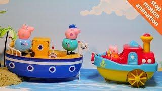 Свинка Пеппа спасает кораблик дедшки Свина