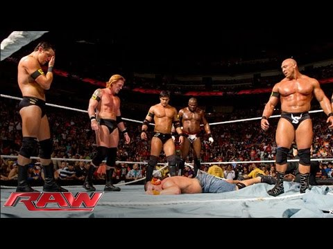 nexus - The rookies from WWE NXT join forces to destroy everything in their path - Raw, June 7, 2010.