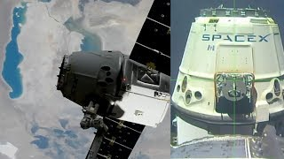 The SpaceX Dragon CRS-11 cargo spacecraft departed from the International Space Station on 3 July 2017, at 06:41 UTC (02:41 EDT). The capsule is scheduled to splashdown in the Pacific Ocean, around 260 miles southwest of the California coast. Recovery forces will retrieve the capsule and its more than 4,100 pounds of returning cargo, including science samples from human and animal research, biotechnology studies, physical science investigations and education activities. Credit: NASASpaceX CRS-11Dragon departs the International Space Station3 July 2017