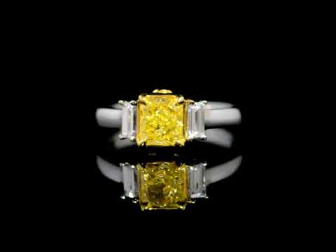 GIA Certified 1.06ct Fancy Intense Yellow Diamond Ring