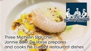 Three Michelin Star chef Jonnie Boer De librije prepares and cooks his current restaurant dishes