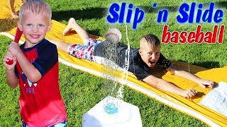"""We found a perfect summer water game for our family--slip and slide water baseball.  Ever since going to their first baseball game and then joining little league, our boys have really loved baseball.  We were all enjoying this toy until a bee decided to come sting Mommy!  Thanks for watching!  Don't forget to give us a THUMBS UP! Please subscribe to our channel & the kids' channels!http://bit.ly/FFPSubscribehttp://bit.ly/AlwaysAlyssaSubscribehttp://bit.ly/SubDudeItsDavidhttp://bit.ly/SubTwinTimehttp://bit.ly/SubMichaelsMPWant to send fan mail?  You can find our address in our """"about"""" section here on YouTube.Find pictures, updates, and more about Family Fun Pack: Facebook: http://bit.ly/FamilyFunFBTwitter: http://bit.ly/FamilyFunTwitterInstagram: http://bit.ly/FamilyFunIGMatt's Instagram: http://bit.ly/DaddyFunPackIGMatt's Twitter: http://bit.ly/DaddyFunPackAlyssa's Instagram: http://bit.ly/2dLKBE6David's Instagram: http://bit.ly/2dsNQAmZac's Instagram: http://bit.ly/2dL1JocChris' Instagram: http://bit.ly/2dL34vVMichael's Instagram: http://bit.ly/2cTen8zNew videos posted daily! Challenges, Epic Road Trips, Vlogs, Toys,  Clothes, Food, and lots of other fun things!  Family Fun Pack is a family of 6 kids: Alyssa, David, Zac & Chris, all born within 39 months of each other.  After those four, we had our precious son Michael and then our sweet new baby Owen!  Our motto is """"fun with the family, every day""""! We like to do videos with Play Doh, Costumes, Superheros, Hot Wheels, Surprise Eggs, holidays like Easter, Halloween & Christmas, we have fun birthday parties, we love indoor playgrounds and outdoor playgrounds, bounce houses, parks, water parks, Disneyland, Legoland, Legos, water toys, Thomas trains, play houses, forts, mess making, trying new foods, pranks, going crazy down the stairs, going to the beach, swimming, pools, Barbies, languages, sports, soccer, makeup, Alyssa loves Justice, horses, animals, and pretty much everything cool!  Be sure to watch our popular vi"""
