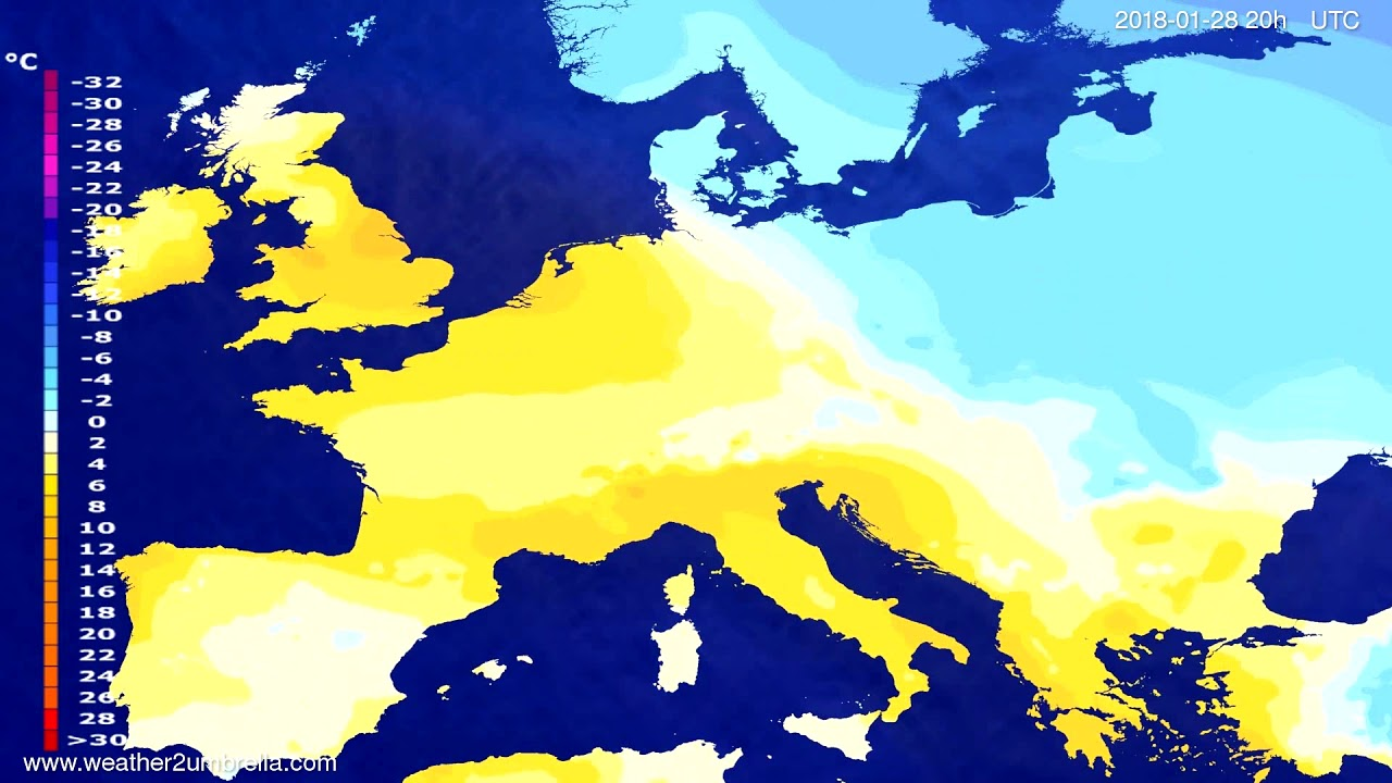 Temperature forecast Europe 2018-01-25