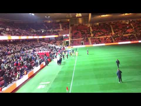 Boro vs Crystal Palace the players walking out onto the pitch #UTB