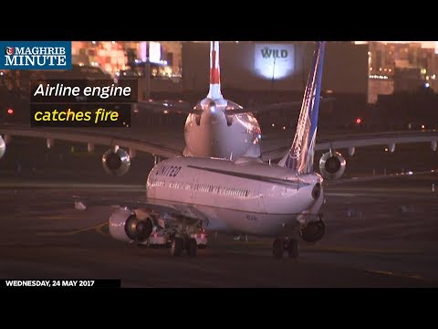 Newark airport in the US was shut down temporarily after a United Airline flight's engine caught fire