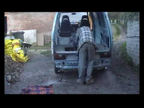 Volkswagen Transporter VW T3 fitted with a Subaru SVX 3.3 flat 6 motor, first start.