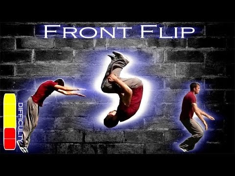 flip - Learn how to front flip on flat ground and off of heights like a free runner. http://www.facebook.com/ronniestreetstunts http://www.twitter.com/ronnieshalvis...