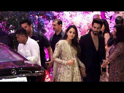 Shahid Kapoor with wife Mira Rajput at Akash Ambani's Engagement Party 2018.
