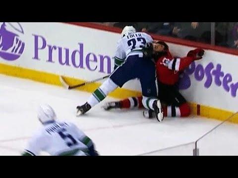 Video: Canucks' Alex Edler drills Devils rookie Nico Hischier from behind