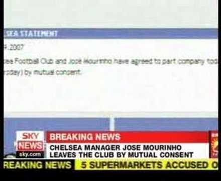 Mourinho Leaves Chelsea Sky News (видео)