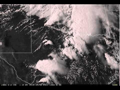 GOES-14 Satellite loop of severe storms over Texas