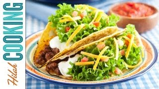 How To Make Tacos!!! Crispy Beef Taco Recipe  Hilah Cooking