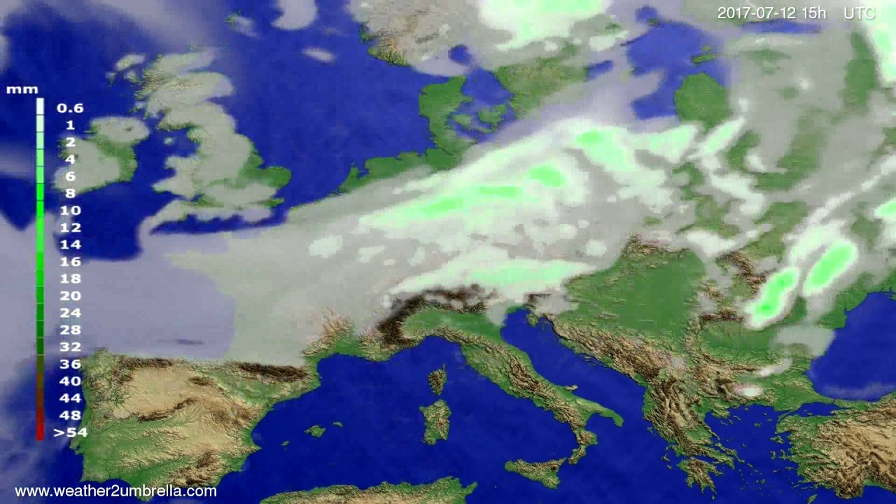 Precipitation forecast Europe 2017-07-10
