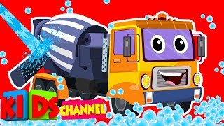 Cement Mixer Truck | Kids channel | car wash songs for children | cartoon construction vehicles