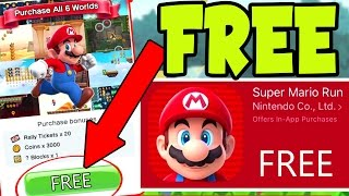 """GET """"SUPER MARIO RUN"""" for FREE! How To UNLOCK ALL 6 Super Mario Run WORLDS and LEVELS for FREE"""