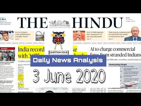 the hindu news  3-June-2020   The Hindu Newspaper Analysis   Current Affairs for UPSC CSE/IAS