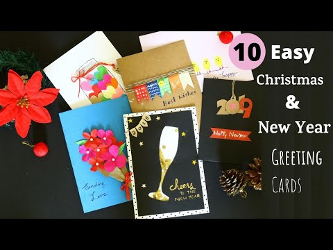 #CardTutorial #greetingcards #HolidayCards 10 Handmade  New Year Cards Ideas 2019  | Aloha Crafts
