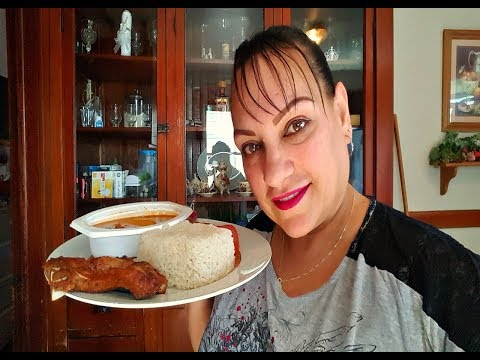 WHITE RICE, STEWED BEANS & FRIED PORK CHOPS/ ARROZ BLANCO, HABICHUELAS GUISA, CHULETAS FRITA