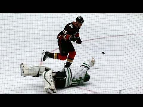 Video: Getzlaf takes own Hail Mary pass, chips puck past Bishop, scores