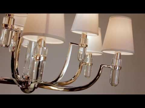 Video for Dayton Polished Nickel Nine-Light Chandelier with Cream Shade