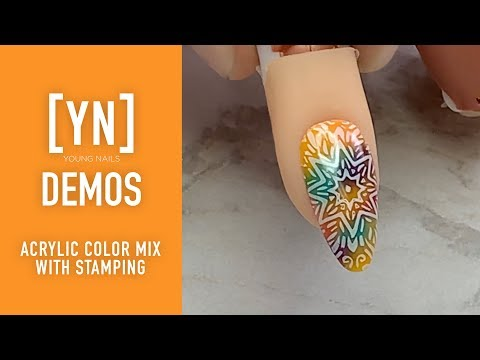 Acrylic nails - Young Nails Nail Demo - Acrylic Color Mix With Stamping - Acrylic and Nail Stamping