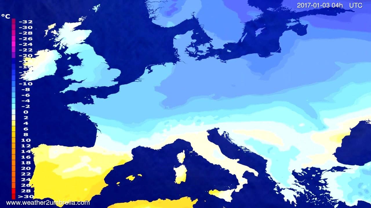 Temperature forecast Europe 2016-12-30