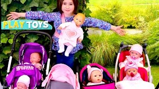 Video My Baby doll Stroller Collection - little girl playing baby dolls w/push chair toy stroller pram MP3, 3GP, MP4, WEBM, AVI, FLV November 2017