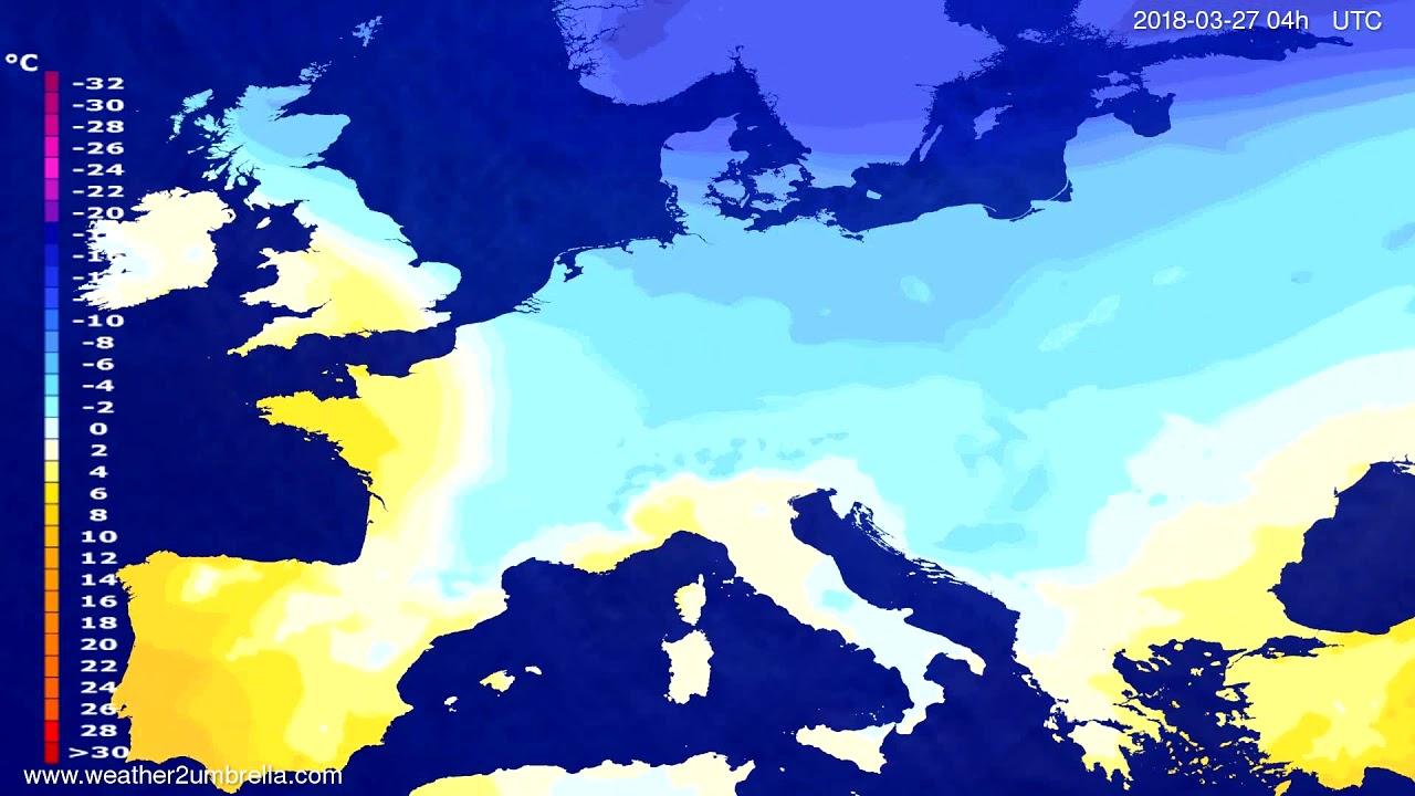 Temperature forecast Europe 2018-03-23