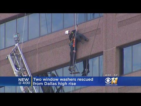 Emergency Crews In Dallas Rescue 2 High-Rise Window Washers