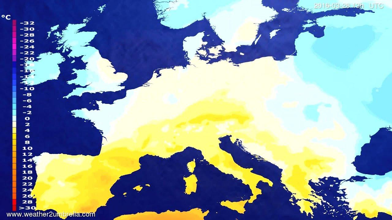 Temperature forecast Europe 2016-03-25